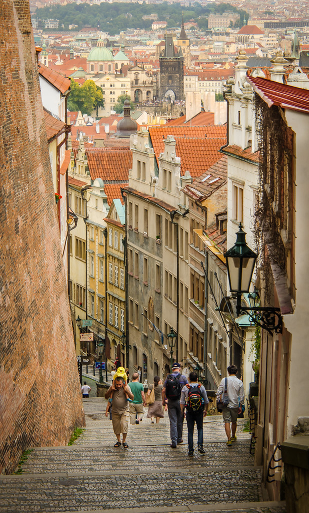 the old castle stairs in prague czech republic charles. Black Bedroom Furniture Sets. Home Design Ideas