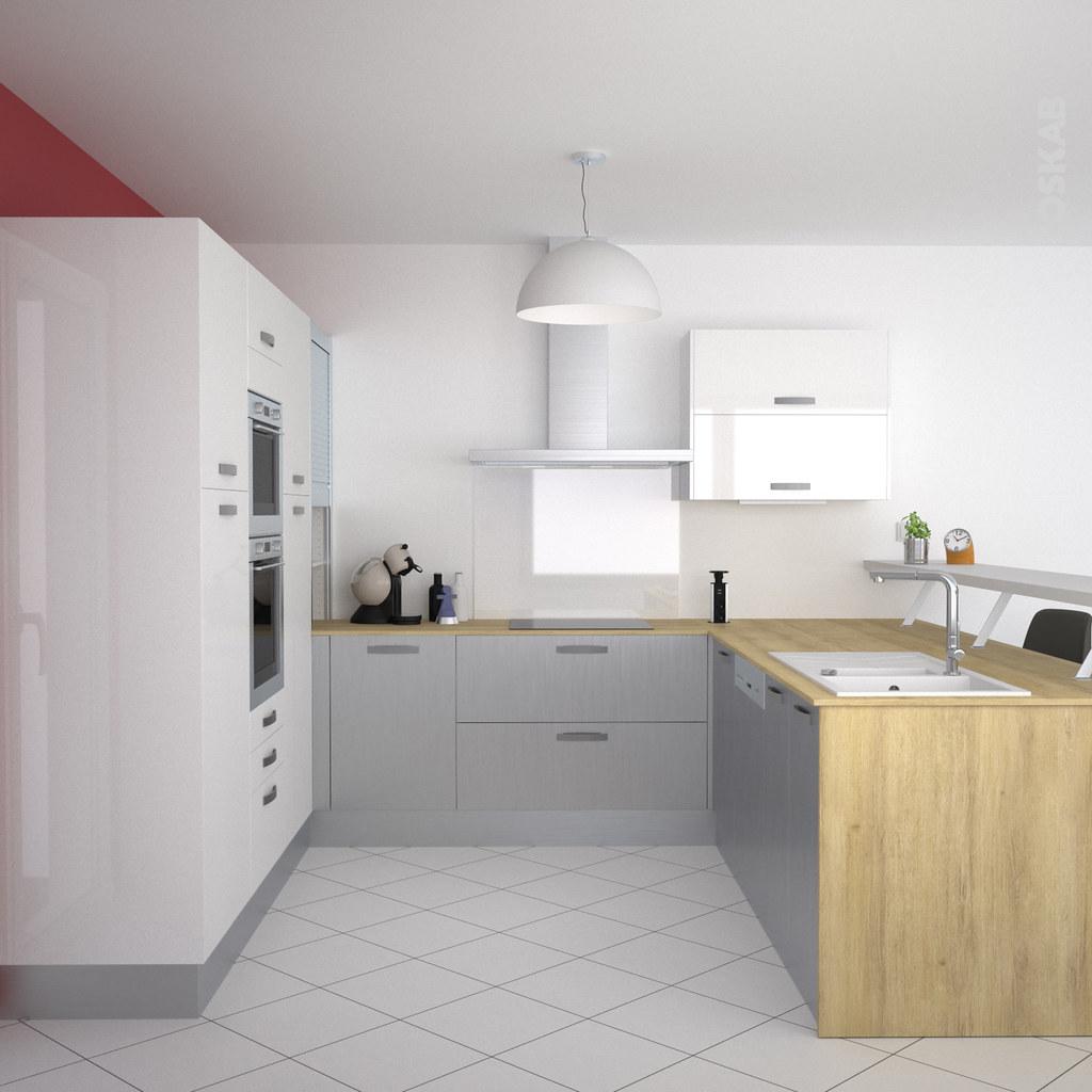 cuisine ouverte sur salon design blanche et inox oskab flickr. Black Bedroom Furniture Sets. Home Design Ideas