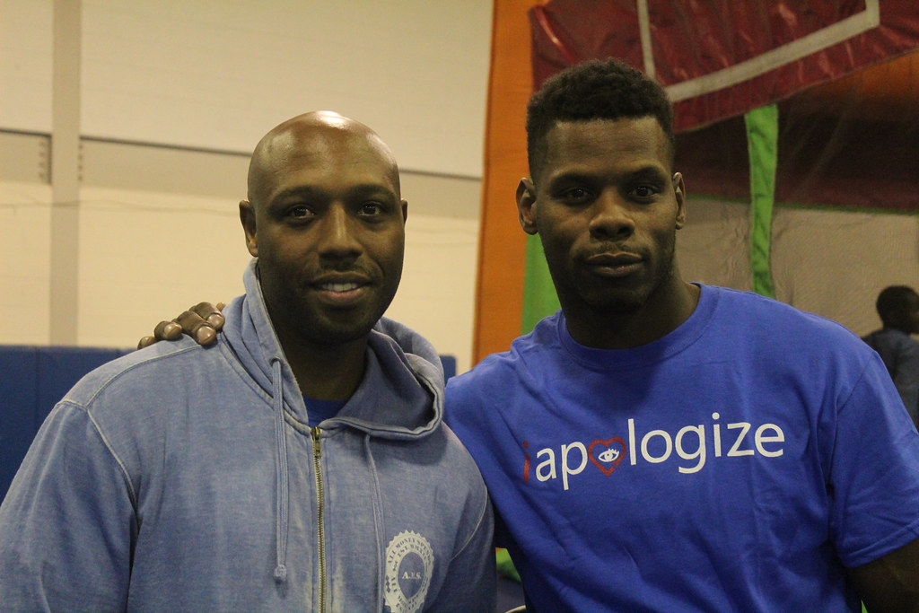 Davon Hunter, left, a longtime friend of Rashawn Sullivan, also devotes time to local youth. | Rachel George, Staff Photo