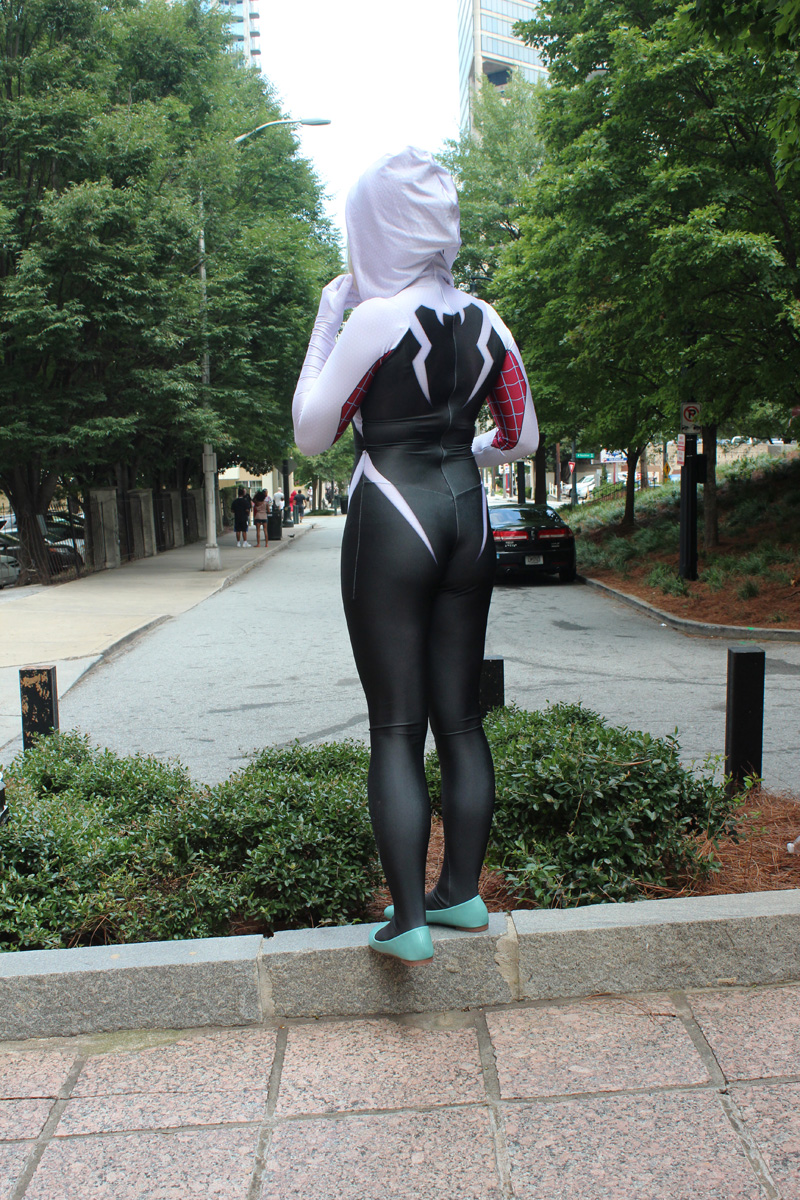 Back View Spider-Gwen Costume from Zentai Zone