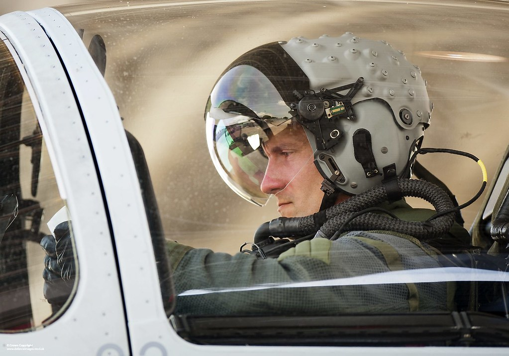 raf typhoon pilot wearing  u2018striker u2019 integrated display hel