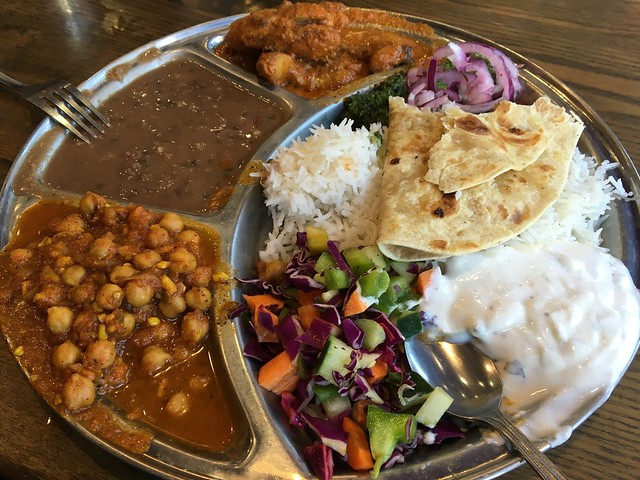 Chana masala & chicken tikka masala thali plate - Kasa Indian Eatery