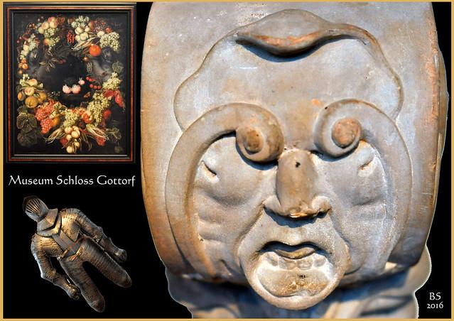 Landesmuseum für Kunst und Kulturgeschichte, Schloss Gottorf Schleswig, Sammlung Kunst des Barock, Herkules - Steinernes - Stuckdecken ... Fotos und Collagen: Brigitte Stolle 2016
