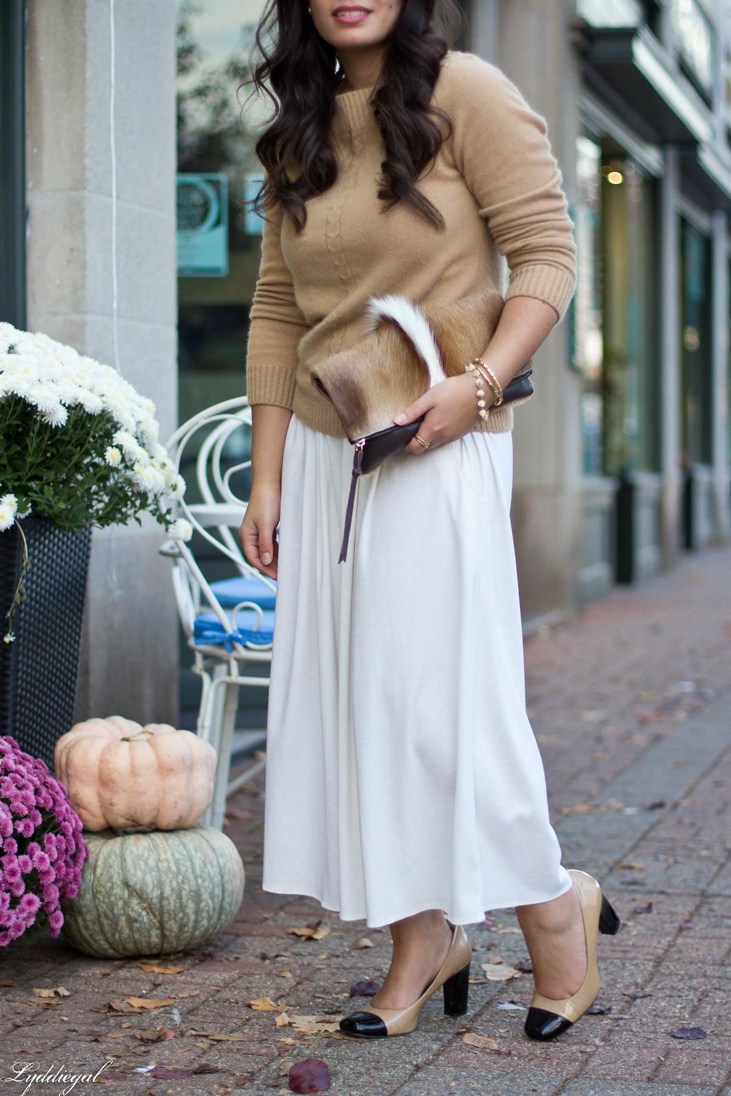 white Culottes, camel sweater, toe cap heels, springbok clutch-2.jpg