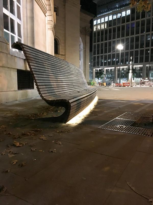 Underlit bench
