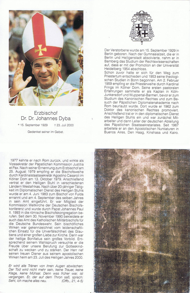 Totenzettel Dyba, Johannes 23.07.2000