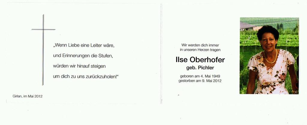 Totenzettel Pichler, Ilse † 09.05.2012