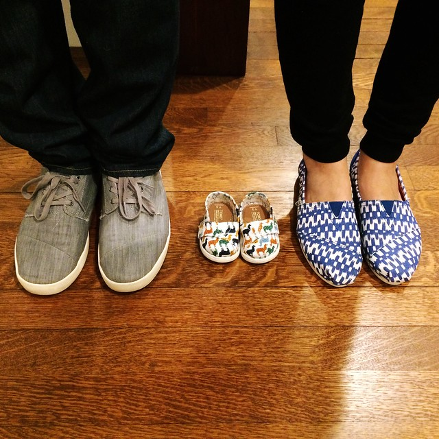 We're thankful for a lot this year, but especially our newest pair of (tiny) @toms shoes. #may2017