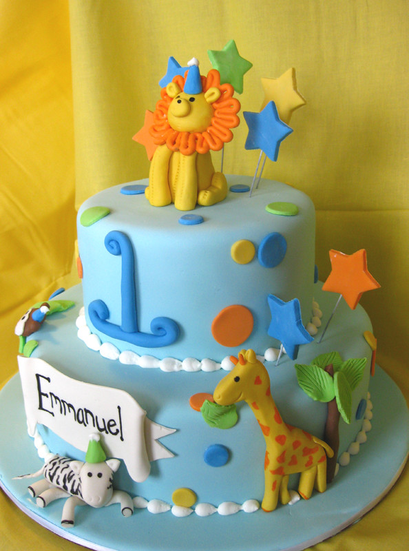 Party Animal Birthday Cake Baby Lion Stars Giraffe Tre Flickr