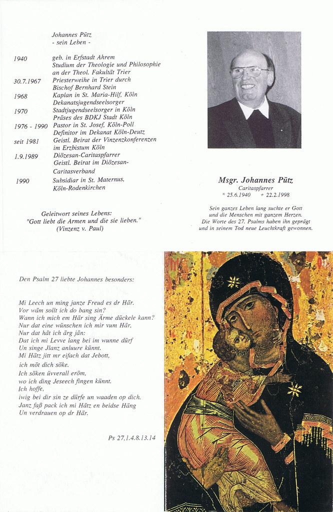 Totenzettel Pütz, Johannes, † 22.02.1998