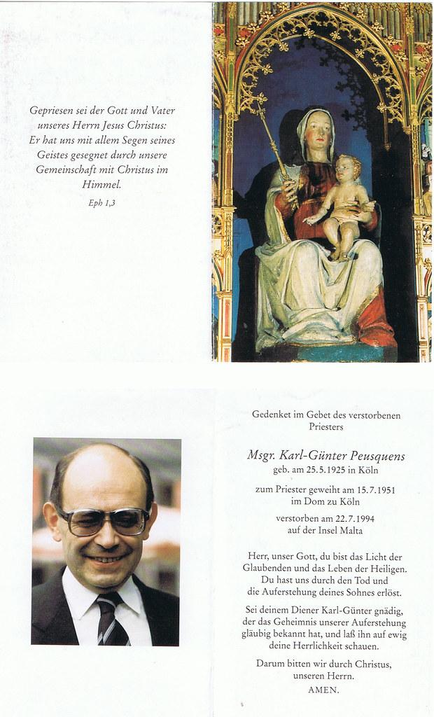 Totenzettel Peusquens, Karl-Günter † 22.07.1994
