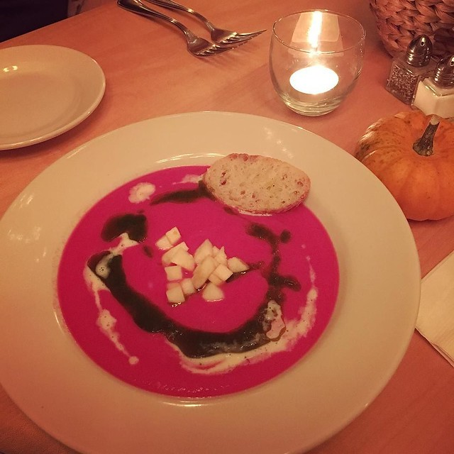 Birthday dinner at Cloudland Farm. Turnip and beet soup. Apples. Chive oil. Lemon crime fraiche. Toasted baguette.