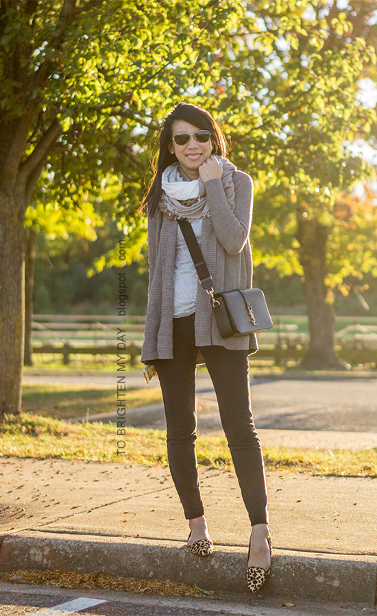 plaid square scarf, taupe gray shawl open cardigan, gray tee, black skinny jeans, black crossbody bag, leopard flats