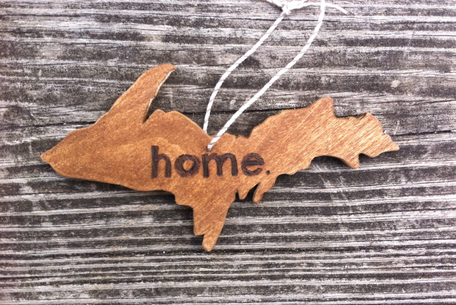 "Michigan Gift Idea: Handmade Home Decor From Wood By Al // Featured - Michigan Upper Peninsula ""Home"" Ornament (via Wading in Big Shoes)"