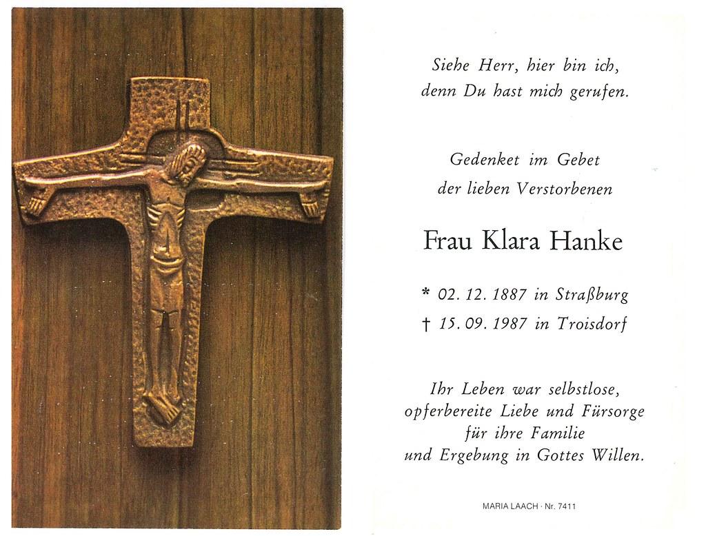 Totenzettel Hanke, Klara † 15.09.1987