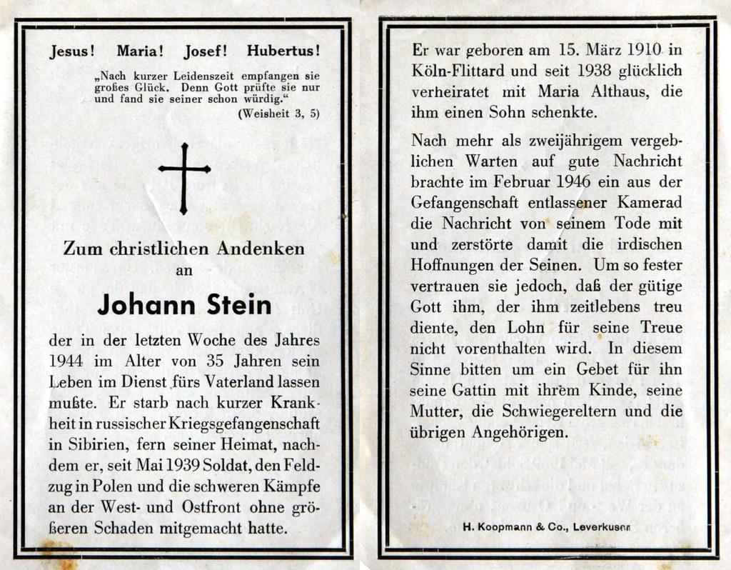 Totenzettel Stein, Johann † 27.12.1944