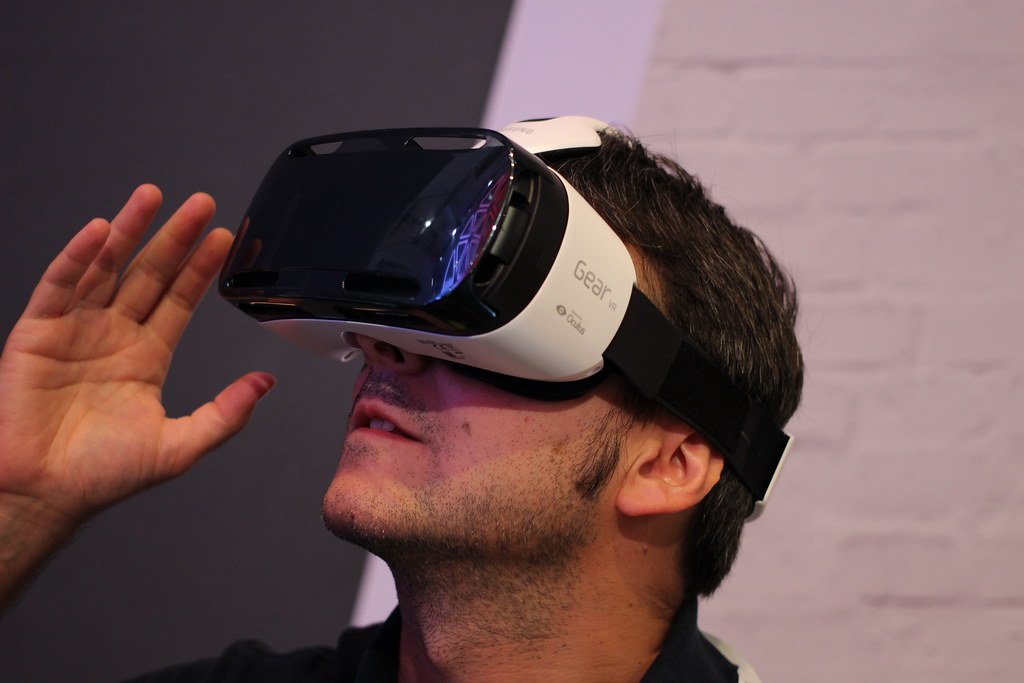 A man wearing a Gear VR headset