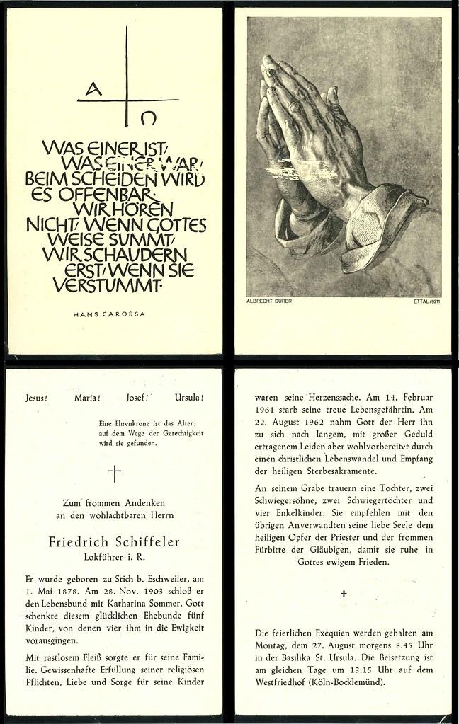Totenzettel Schiffeler, Friedrich † 22.08.1962