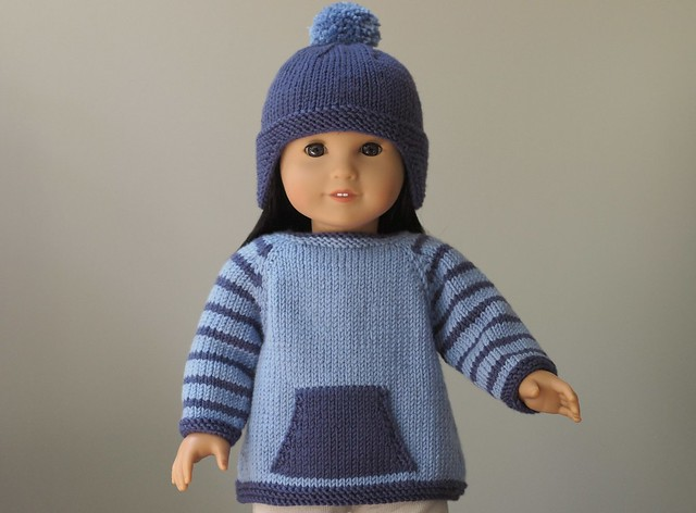 Rambler Sweater and Hat (Knitting Pattern for American Girl Dolls)