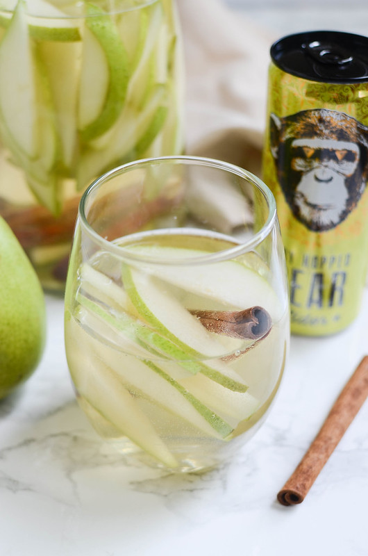 Pear Cider Sangria - the perfect fall drink! Just 4 ingredients and so delicious!