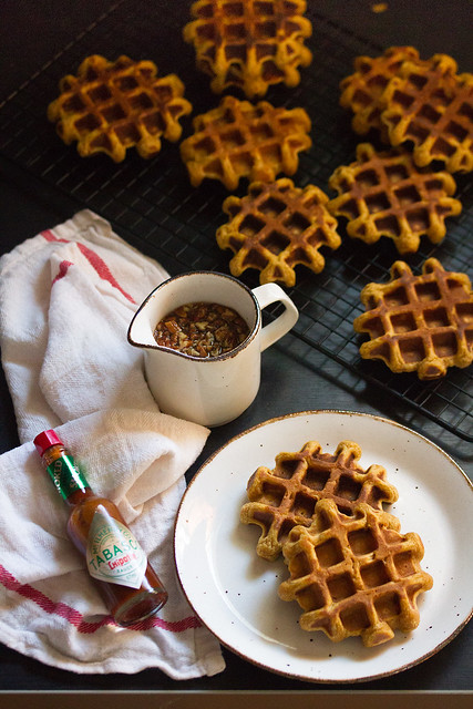 Sweet Potato Waffles with Maple-Chipotle Syrup