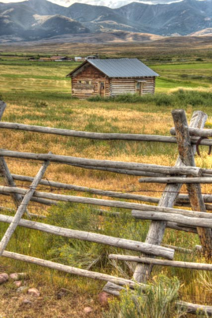 Fence And Old Log Cabin This Photo Was Taken On The Big