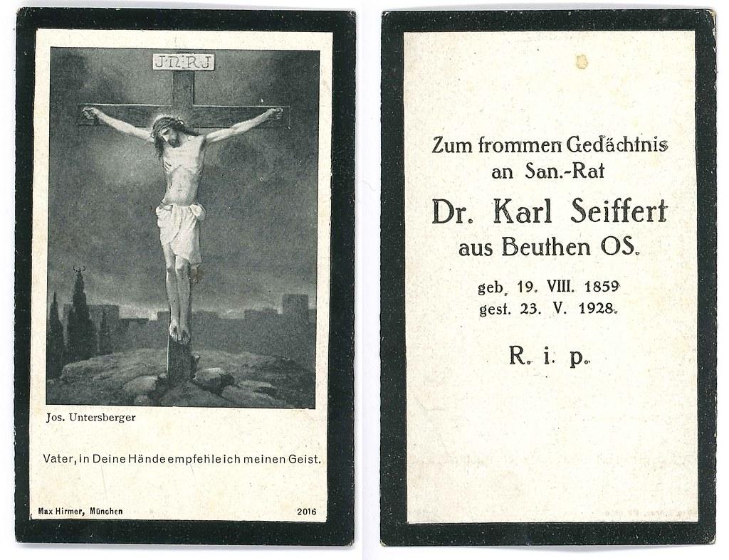 Totenzettel Seiffert, Karl † 23.05.1928