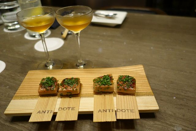 Caramelised foie gras terrine, vinegar glazed leeks, crisp puff pastry at Antidote Bar, Singapore