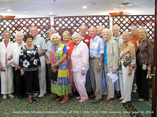 Ames High School Combined Class of 1943 1944 1945 70th reunion group photo for AHSAA newsletter