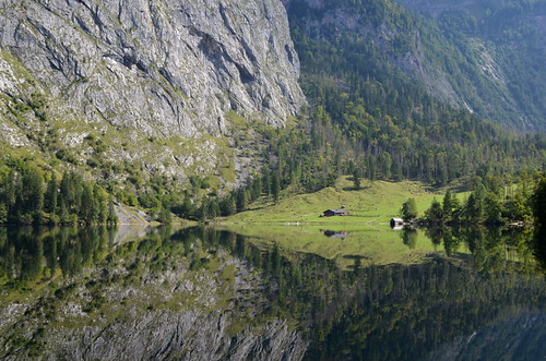 View to hütte, Obersee, Königssee, Bavaria