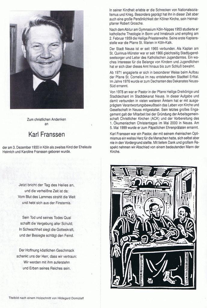 Totenzettel Franssen, Karl geb. 03.12.1930