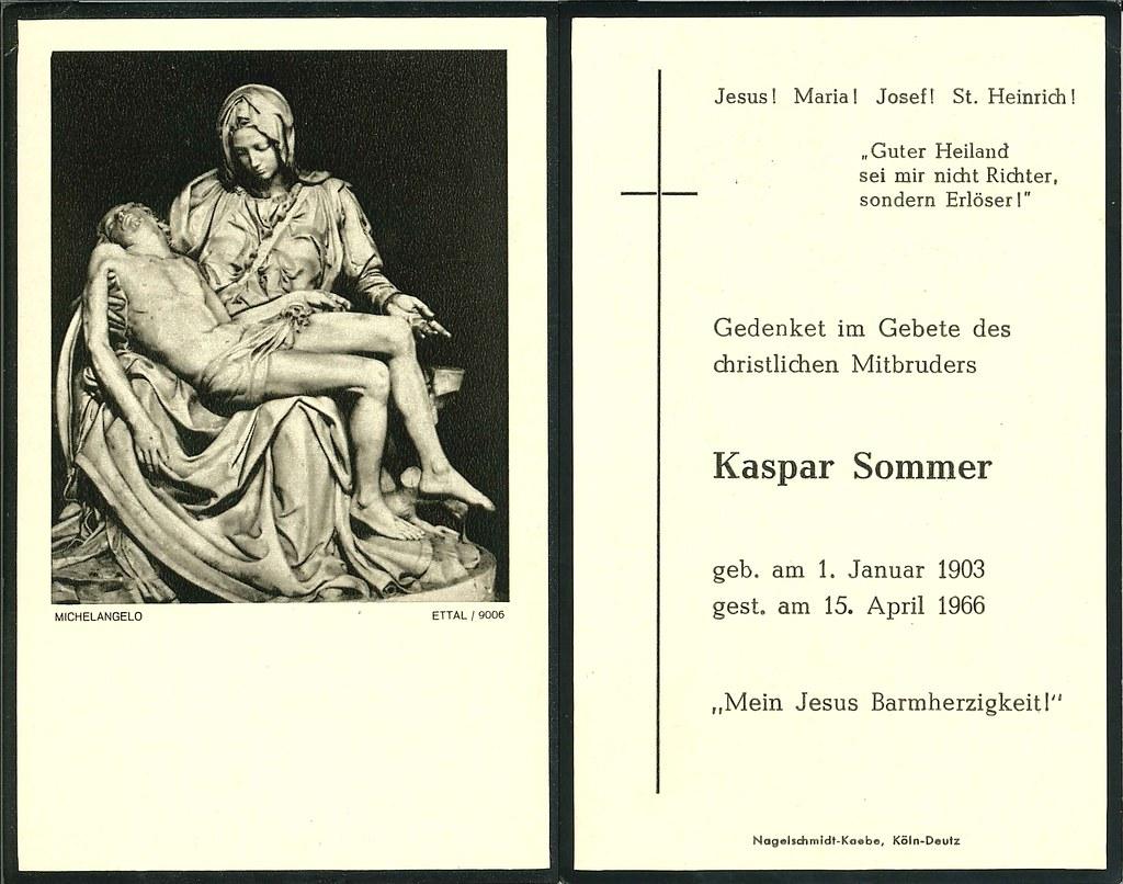 Totenzettel Sommer, Kaspar † 15.04.1966