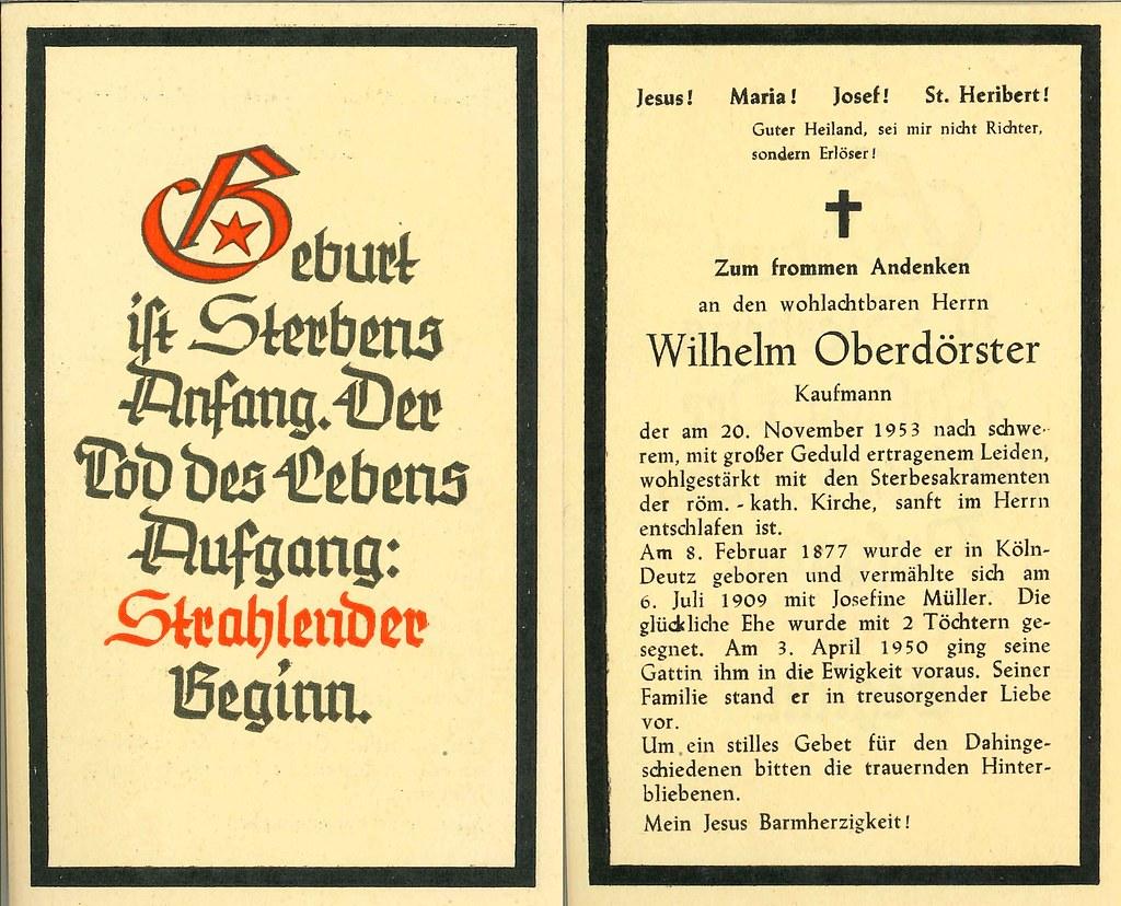 Totenzettel Oberdoerster, Wilhelm † 20.11.1953