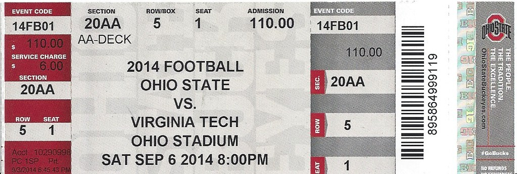 OSU Football Ticket