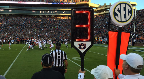 The eDown marker is shown during the football game against Arkansas.