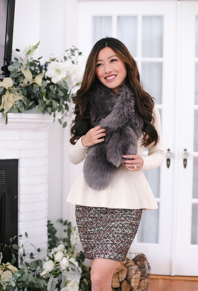 gray faux fur stole scarf holiday party outfit ideas