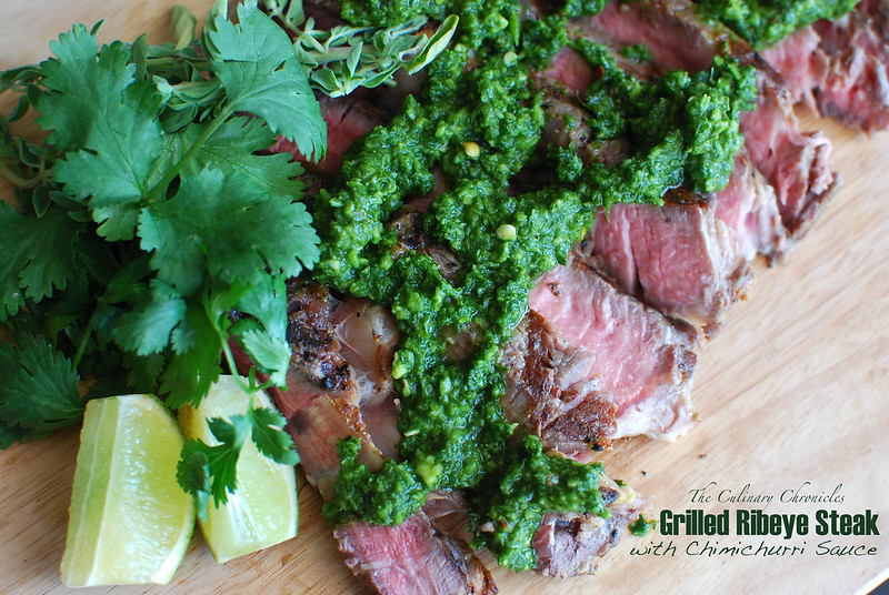 Grilled Ribeye Steak with Chimichurri Sauce