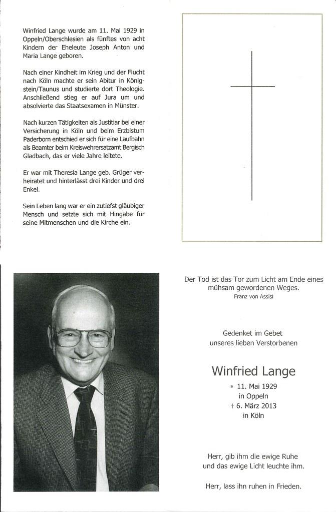 Totenzettel Lange, Winfried † 06.03.2013