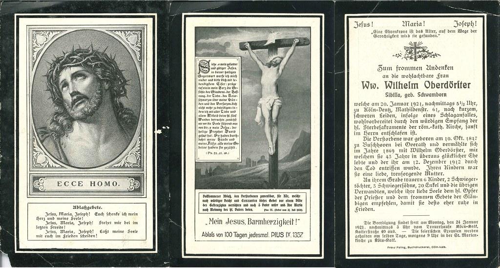 Totenzettel Oberdoerster, Sibilla † 20.01.1921