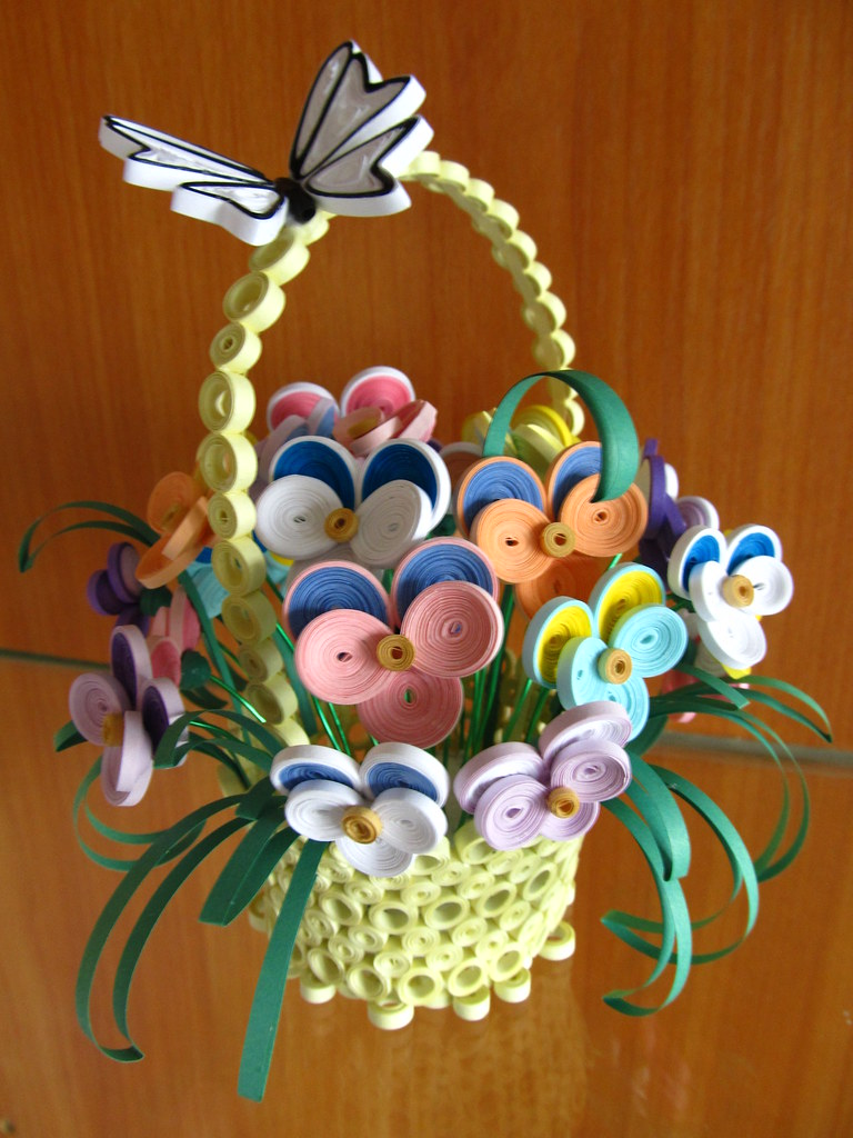 Handmade home decor quilled home decor quilled basket wi for Quilling home decor