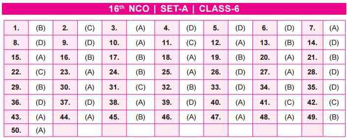 NCO Answer Key SET A Class 6