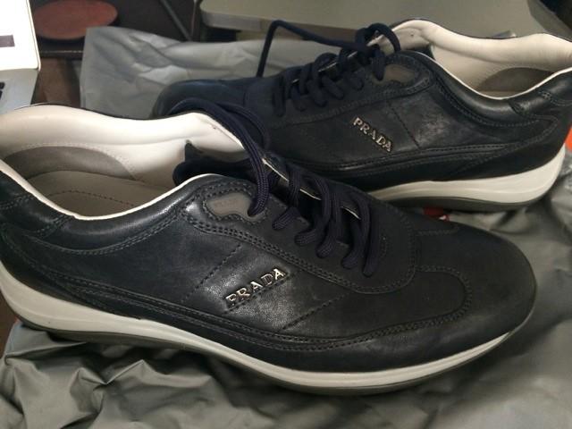 f6d5dbd5c6c68 R R Masculino 0 Italiano 7 Prada 999 Sapato Sapato Sapato Escuro Couro Azul  Usa OxRw8PqA