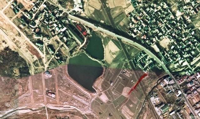 加古川市の堤防上痕跡(1974年航空写真)