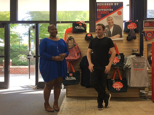 Alaundra Shealey and Ben Jablonski in the Auburn University Bookstore.