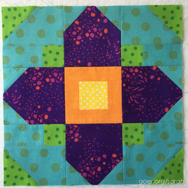 Quatrefoil water lily block by Sarah at Sarah Goer Quilts