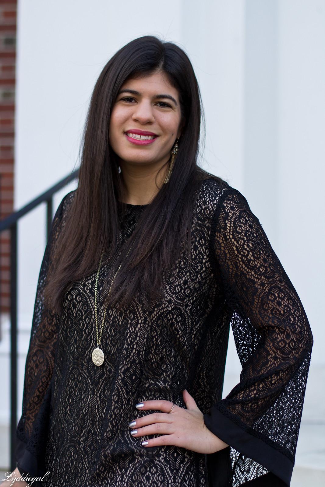 black lace dress, gold sequin clutch, studded pumps-5.jpg