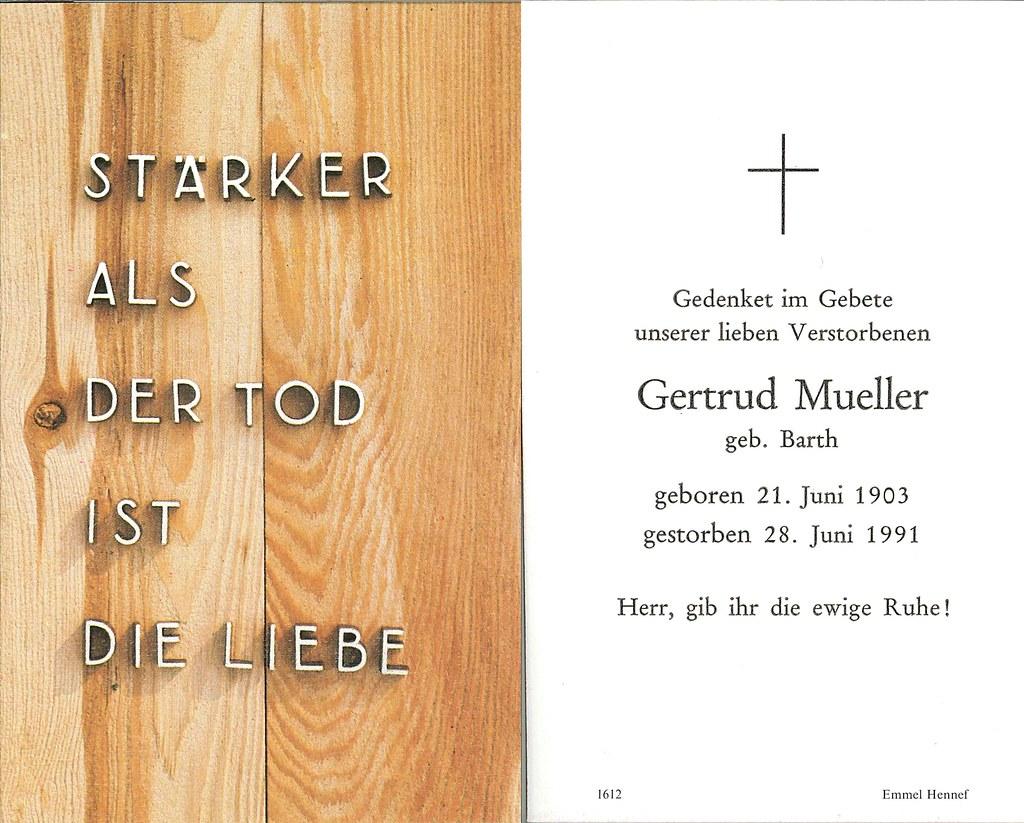 Totenzettel Mueller, Gertrud † 28.06.1991