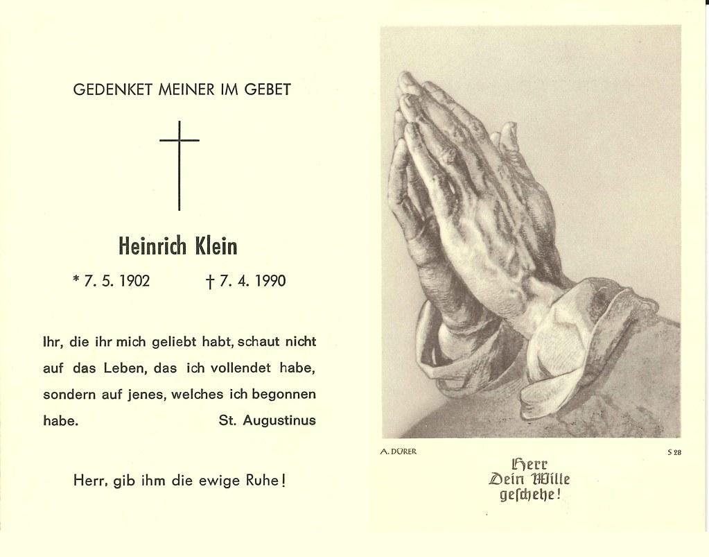 Totenzettel Klein, Heinrich † 07.04.1990