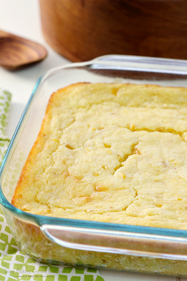 Easy Corn Casserole in a clear baking dish.
