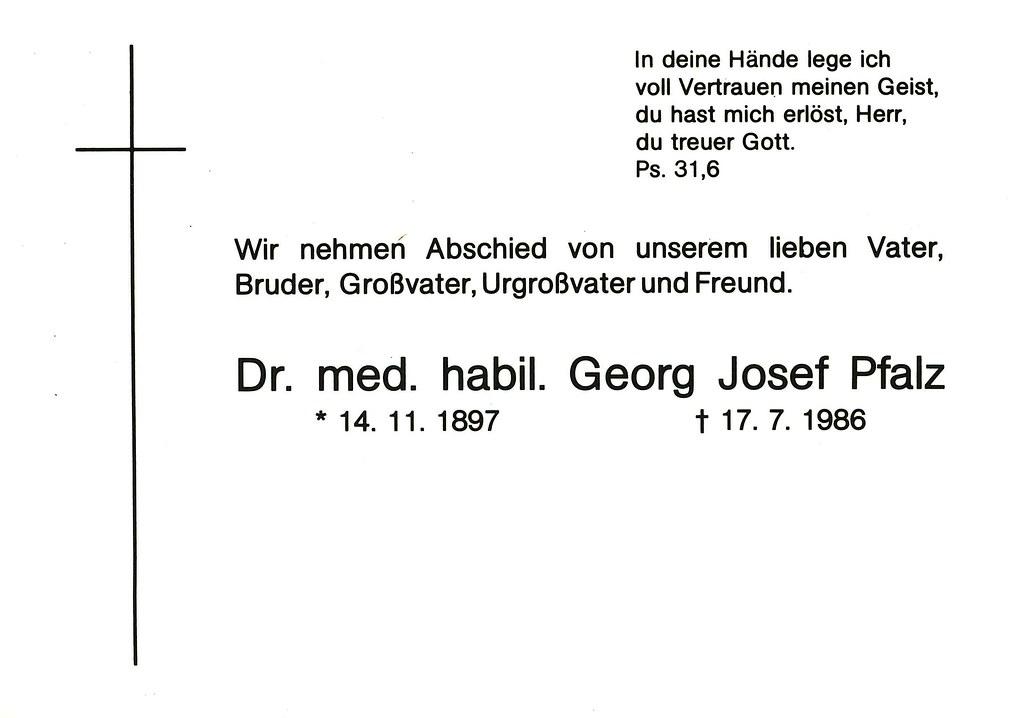 Totenzettel Pfalz, Georg Josef † 17.07.1986